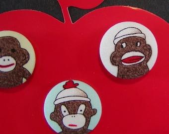 Sneaky Sock Monkey Magnets