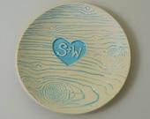 Ring Dish, customized ceramic wood grain in sky blue