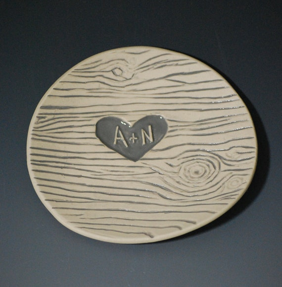 Personalized Ceramic Dish, wood grain