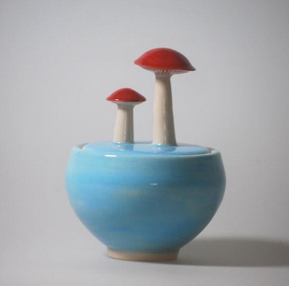 Mushroom Lidded Jar in Sky Blue