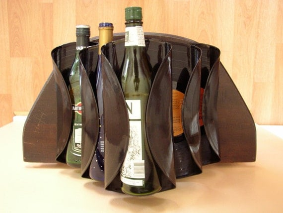 SALE-Wine Bar Rack Recycled Record Albums- Elvis Collection