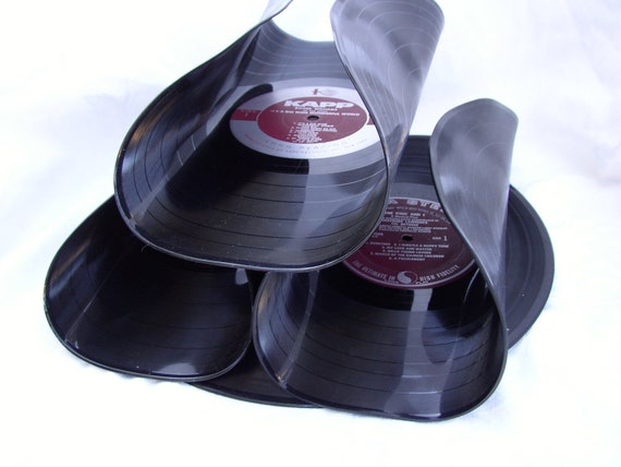 Mini-Bar Wine Rack, Recycled Record Albums, Merlot Colored Label, Eco-Friendly Functional Art