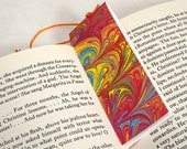 Marbled Paper Bookmark Book / Mini Notebook - Series 7, Rainbow Marbled Paper