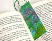 Marbled Paper Bookmark Book / Mini Notebook - Series 8, Green & Blue Notebook Bookmark