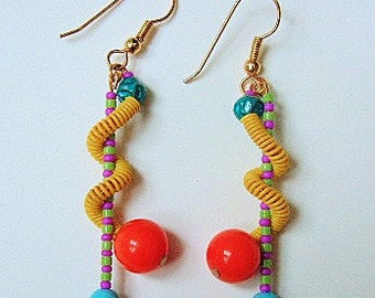 Twisted beaded snake earrings