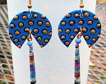 Blue Paper Pie Cut Earrings