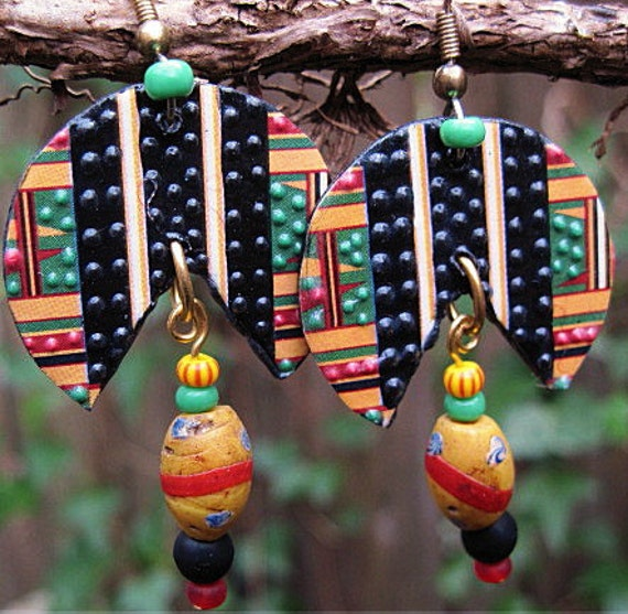 Kente Cloth Piecut Earrings