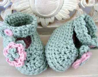 Hand Crocheted Green and Pink Baby Booties with Pink Vintage Button Closure