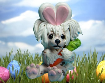 Chinese Crested Easter Bunny dog with Carrot OOAK Clay art by Sallys Bits of Clay