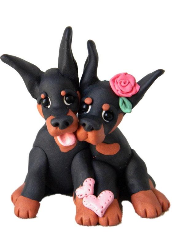Doberman Pinscher Puppy Love sculpture hand sculpted OOAK by Sallys Bits of Clay