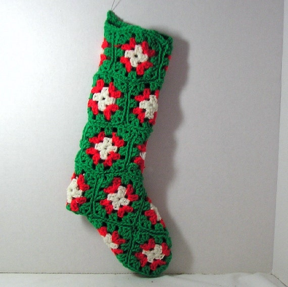 Granny Square Crocheted Christmas Stocking by by byallisonb