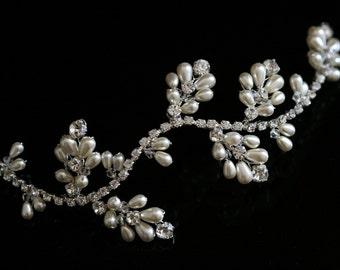 Handmade Bridal Wedding Hair Vine made with Swarovski Crystal Rhinestones & Pearl alt Tiara