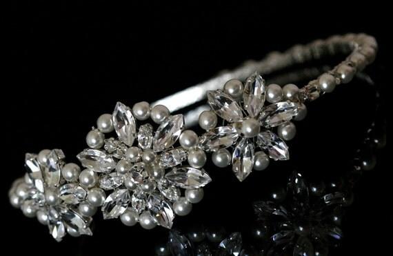 Brides / Wedding Side Tiara made with Swarovski Crystal Rhinestones and Pearls