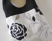 Black, White, and Khaki Floral Shoulder Bag