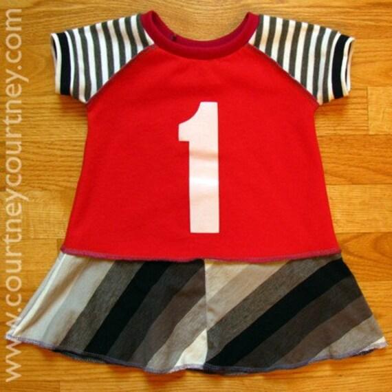 birthday COURTNEYCOURTNEY i am one year old 12m recycled tunic