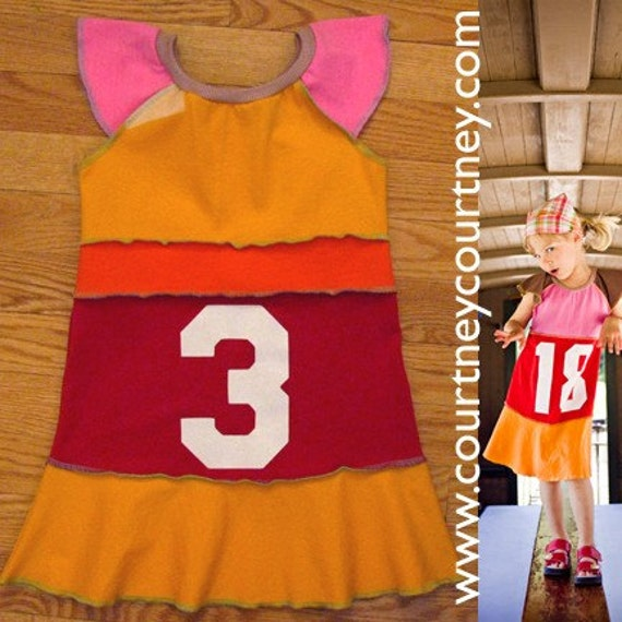 birthday COURTNEYCOURTNEY i am three years old 3T recycled flutter sleeve tunic dress