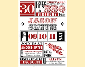 Custom Modern Retro BBQ Barbecue Birthday Anniversary Party Invitation Invite Digital Design - 21st, 30th, 40th, 50th, 60th - Printable