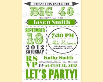 Custom Retro Birthday Anniversary Party Invitation Invite Digital Design - Old Fashioned / Circle - 30th, 40th, 50th, 60th - Printable