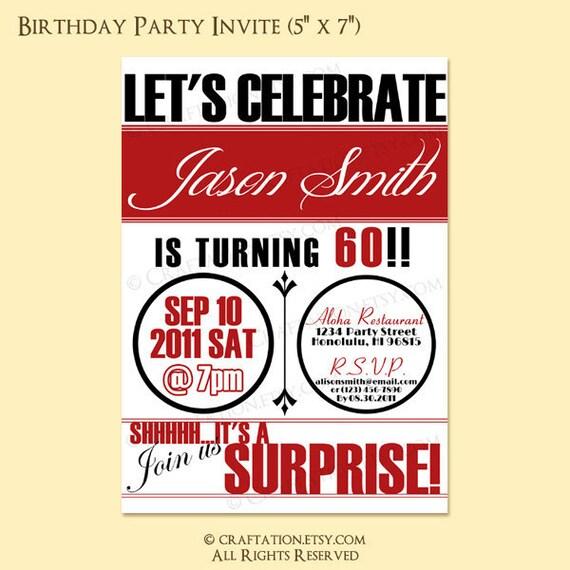 Vintage Retro Birthday Anniversary Party Invitation Invite Digital Design - 21st, 30th, 40th, 50th, 60th - Printable - Circles/Surprise
