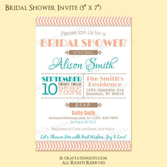 Custom Modern Vintage Retro Bridal / Baby Shower Party Invitation Invite Digital Design - Chevron / Typography / Old Fashioned - Printable