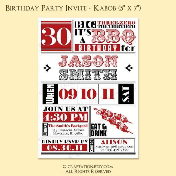 Custom Vintage Retro BBQ Barbecue Birthday Anniversary Party