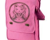 Sale Kawaii Kitty Canvas Field Bag (PINK)