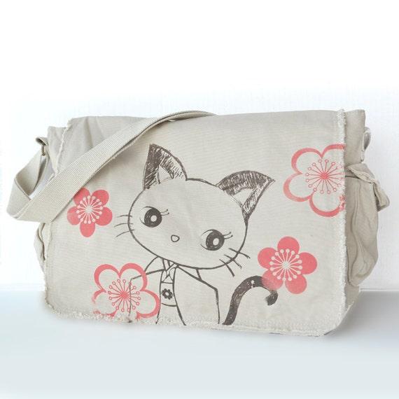 Kimono Kitty  Raw-Edge Messenger Bag puffy