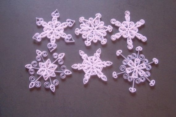 Large White Quilled Snowflakes
