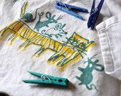 Cat-erpillar and Mice Hand-Printed Flour Sack Towel
