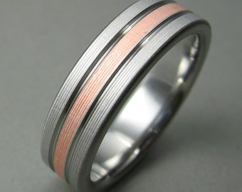 Men's Wedding Ring Titanium Copper Comfort Fit