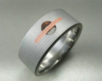 Drilled Hole Titanium & Copper Ring