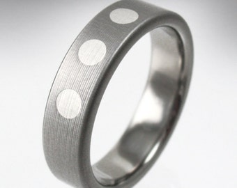 Deco Dots Titanium and Silver Wedding Ring