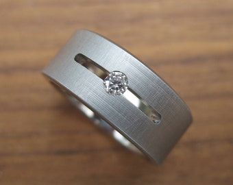 Titanium Floating Diamond Wedding Ring