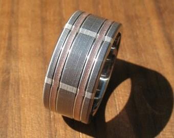 Plaid Titanium Rose Gold & Silver Wedding Ring
