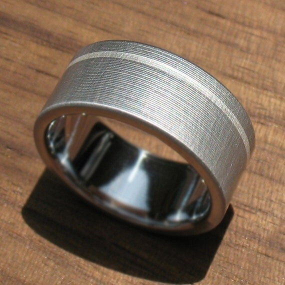 titanium wedding ring silver pinstripe comfort fit
