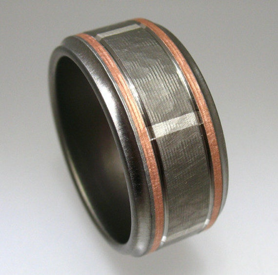 Hammered Titanium Silver Rose Gold Wedding Ring