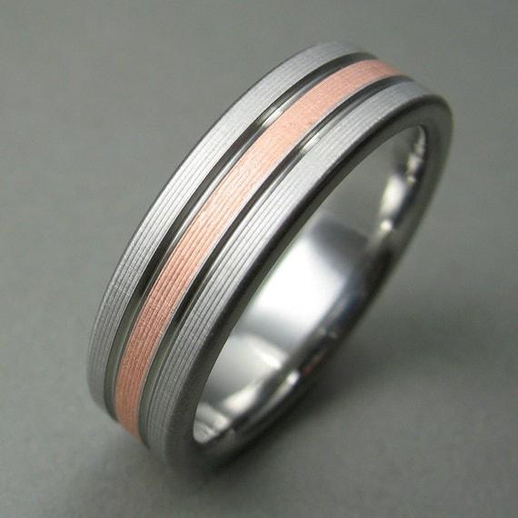 Men S Wedding Ring Titanium Copper Comfort Fit