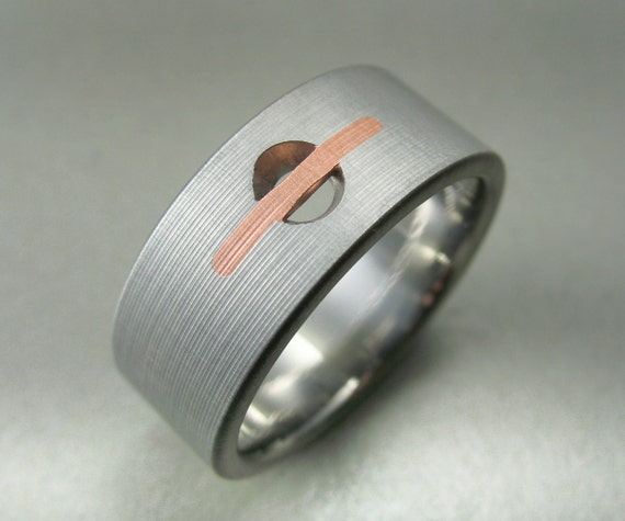 Drilled Hole Titanium & Copper Ring
