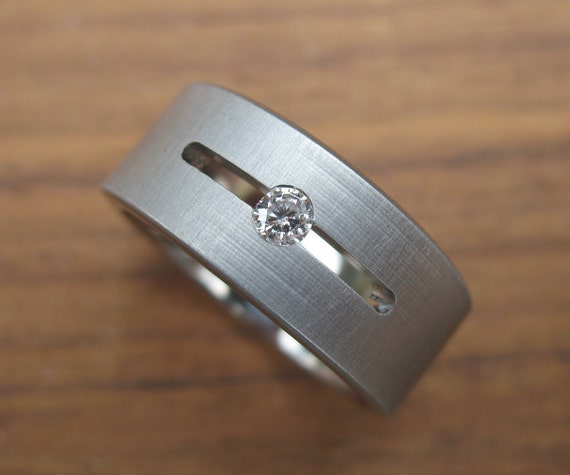 Titanium Floating Diamond Wedding Ring