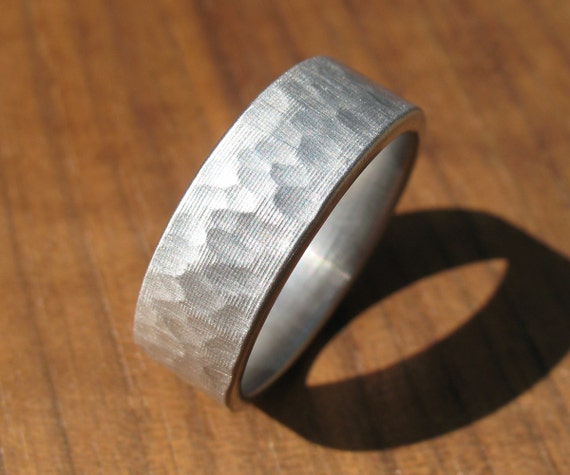 Hammered Stainless Steel Ring Comfort Fit