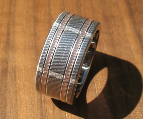 Plaid Titanium Rose Gold & Silver Wedding Ring