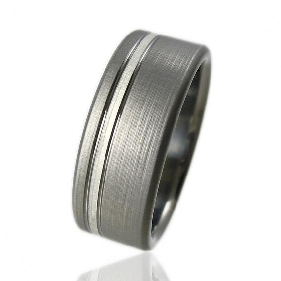 Titanium Silver Pinstripe Ring Comfort Fit