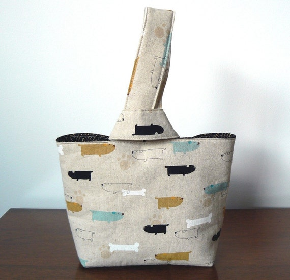 The Bucket Bag in Japanese Linen Dog Print