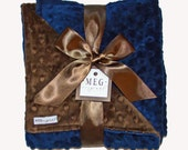 Navy Blue and Chocolate Brown Minky Dot Chenille Baby Boy Blanket