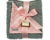 Pink and Gray Baby Girl Minky Dot Blanket