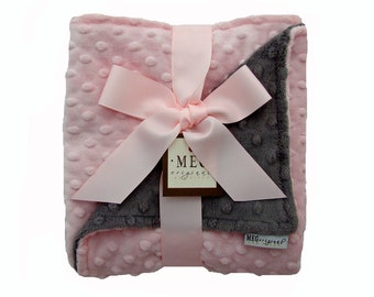 Pink and Charcoal Baby Girl Minky Dot Blanket 361