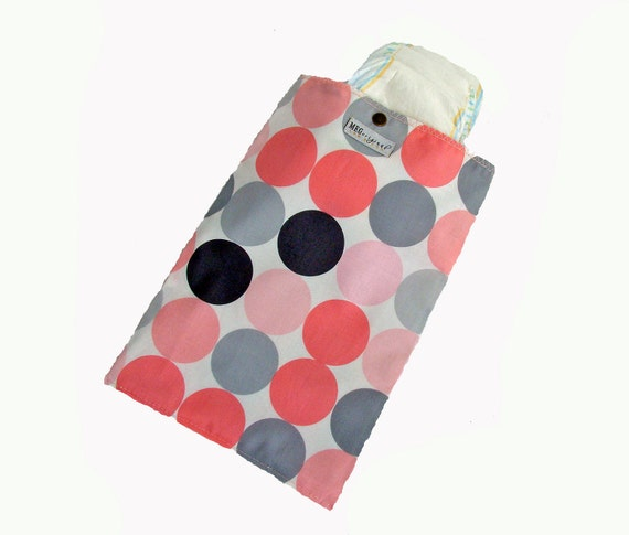 Pink & Gray Disco Dot Baby Girl Diapers and Wipes Clutch