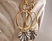 Gold Looped Circle Earrings with Oxidized Sterling Silver Leaf Drop