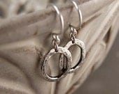 Lightly Oxidized Sterling Silver Organic Oval Drop Earrings