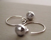 Fine Sterling Silver Looped Crescent Hoop Earrings with Hammered Ball